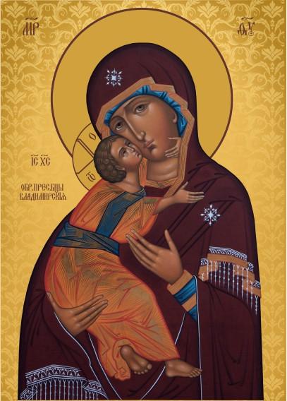 Ікона з росписом Володимирська Богородиця