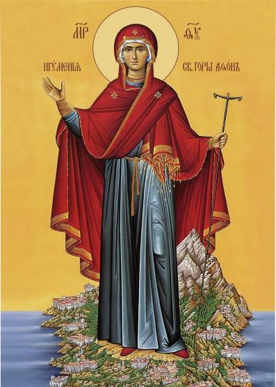Ікона з росписом Свята Ігуменя  гори Афонської