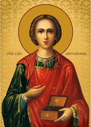 Ікона з росписом Святий Пантелеймон