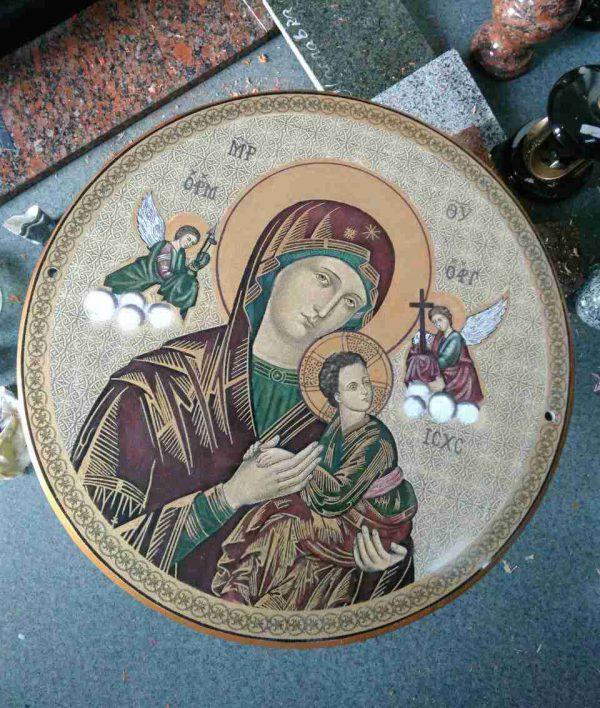 Икона Божией Матери на камне круглая (на заказ)