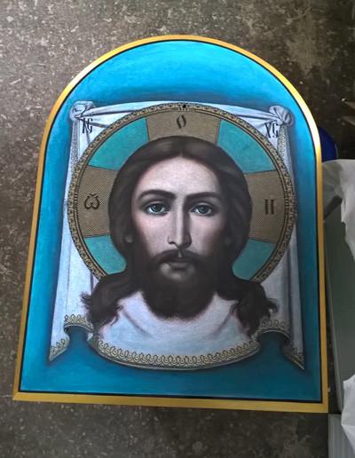 Икона Спасителя на камне для храма на заказ