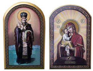 Икона из камня Николая чудотворца и Пр.Богородицы