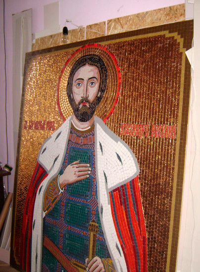 Икона князя Александра Невского из мозаики