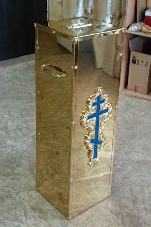 Карнавка напольная из булата с крестом (25 на 25см)