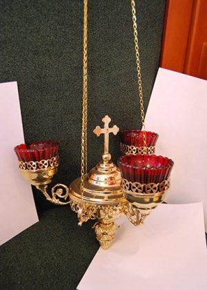 Трехлампадник подвесной малый для храма