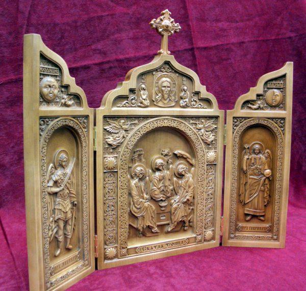Купить складень Святая Троица (груша резная)