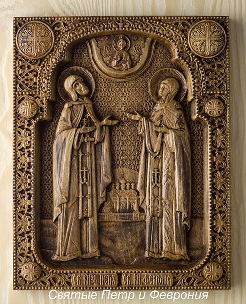 Святые Петр и Феврония на иконе из дерева